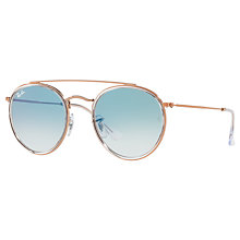 Buy Ray-Ban RB3647N Double Bridge Round Sunglasses, Rose Gold/Blue Gradient Online at johnlewis.com