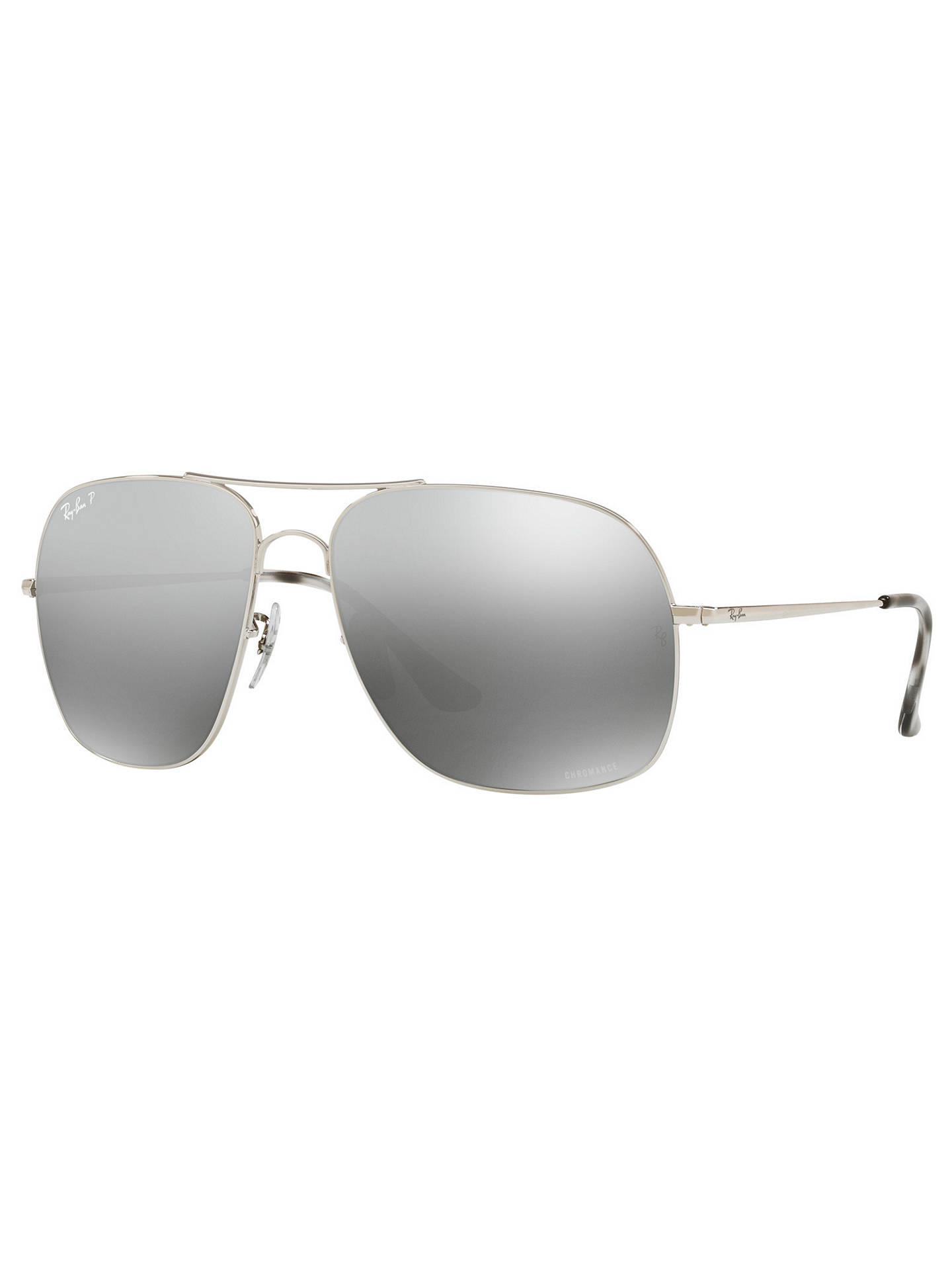 Buy Ray-Ban RB3587 Polarised Square Sunglasses, Silver Online at johnlewis.com