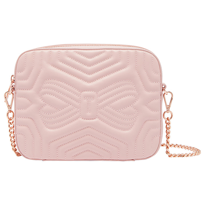 Buy Ted Baker Sunshine Quilted Leather Camera Across Body Bag, Light Pink Online at johnlewis.com