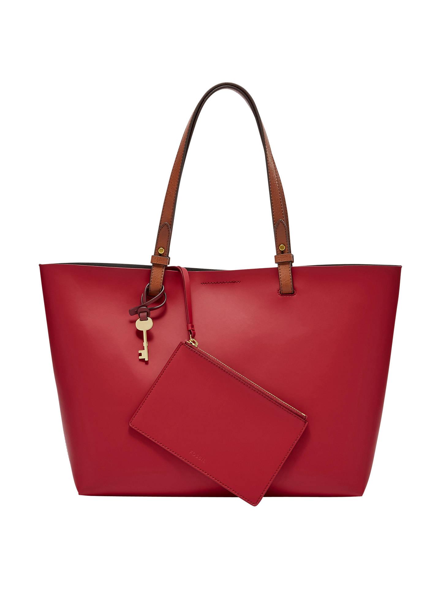 Fossil Rachel Leather Tote Bag Red Velvet Online At Johnlewis