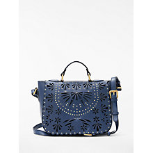 Buy AND/OR Isabella Leather Cutwork Shoulder Bag, Blue Online at johnlewis.com