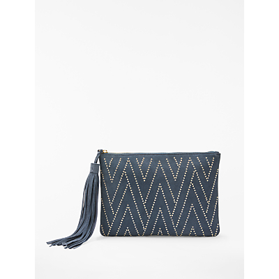 AND/OR Isabella Suede Studded Clutch Bag, Blue