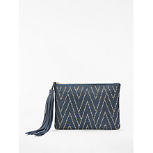 Buy AND/OR Isabella Suede Studded Clutch Bag, Blue Online at johnlewis.com