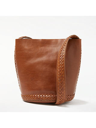 Buy AND/OR Isabella Leather Whipstitch Small Bucket Bag, Tan Online at johnlewis.com