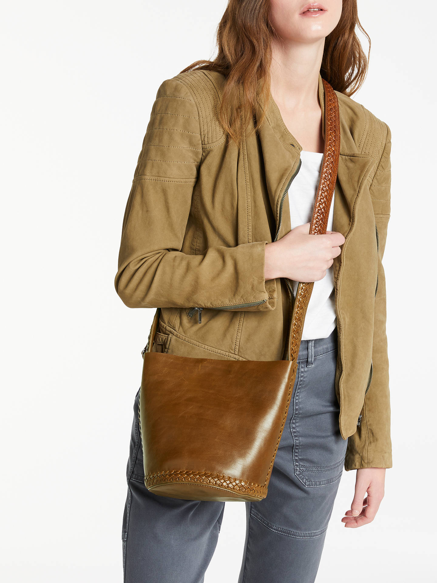 BuyAND/OR Isabella Leather Whipstitch Small Bucket Bag, Tan Online at johnlewis.com