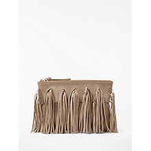 Buy AND/OR Isabella Suede Fringe Clutch Bag, Nude Online at johnlewis.com
