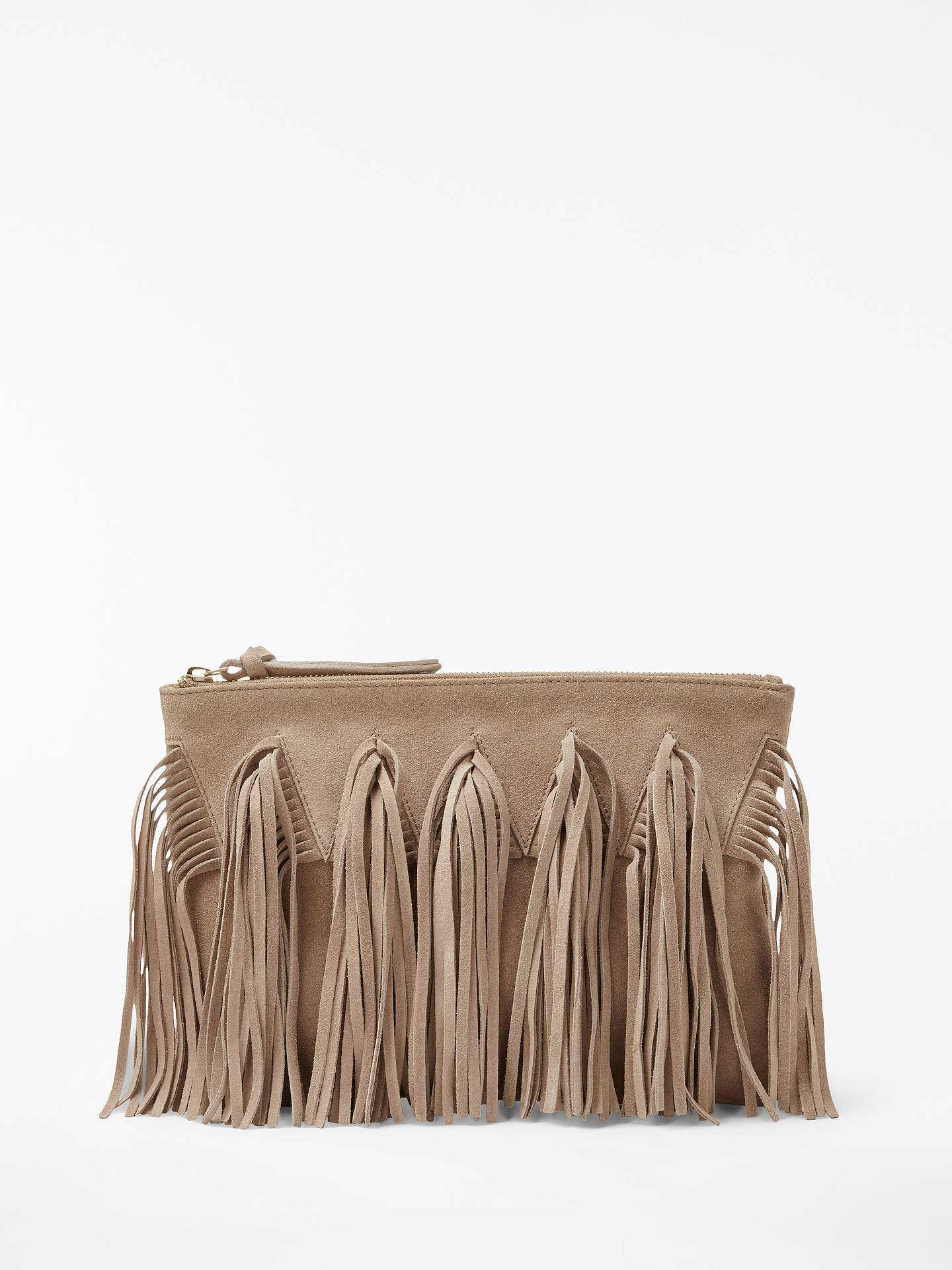 And Or Isabella Suede Fringe Clutch Bag Online At Johnlewis