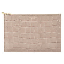 Buy Aspinal of London Leather Large Croc Effect Essential Pouch Purse, Taupe Online at johnlewis.com