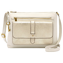 Buy Fossil Kinley Leather Cross Body Bag, Pale Gold Online at johnlewis.com
