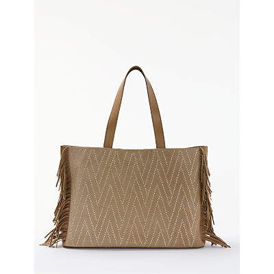 AND/OR Isabella Suede Fringe Large Studded Tote Bag, Taupe