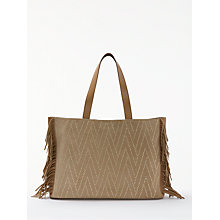 Buy AND/OR Isabella Suede Fringe Large Studded Tote Bag, Taupe Online at johnlewis.com