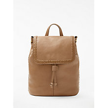 Buy AND/OR Isabella Leather Whipstitch Backpack, Taupe Online at johnlewis.com