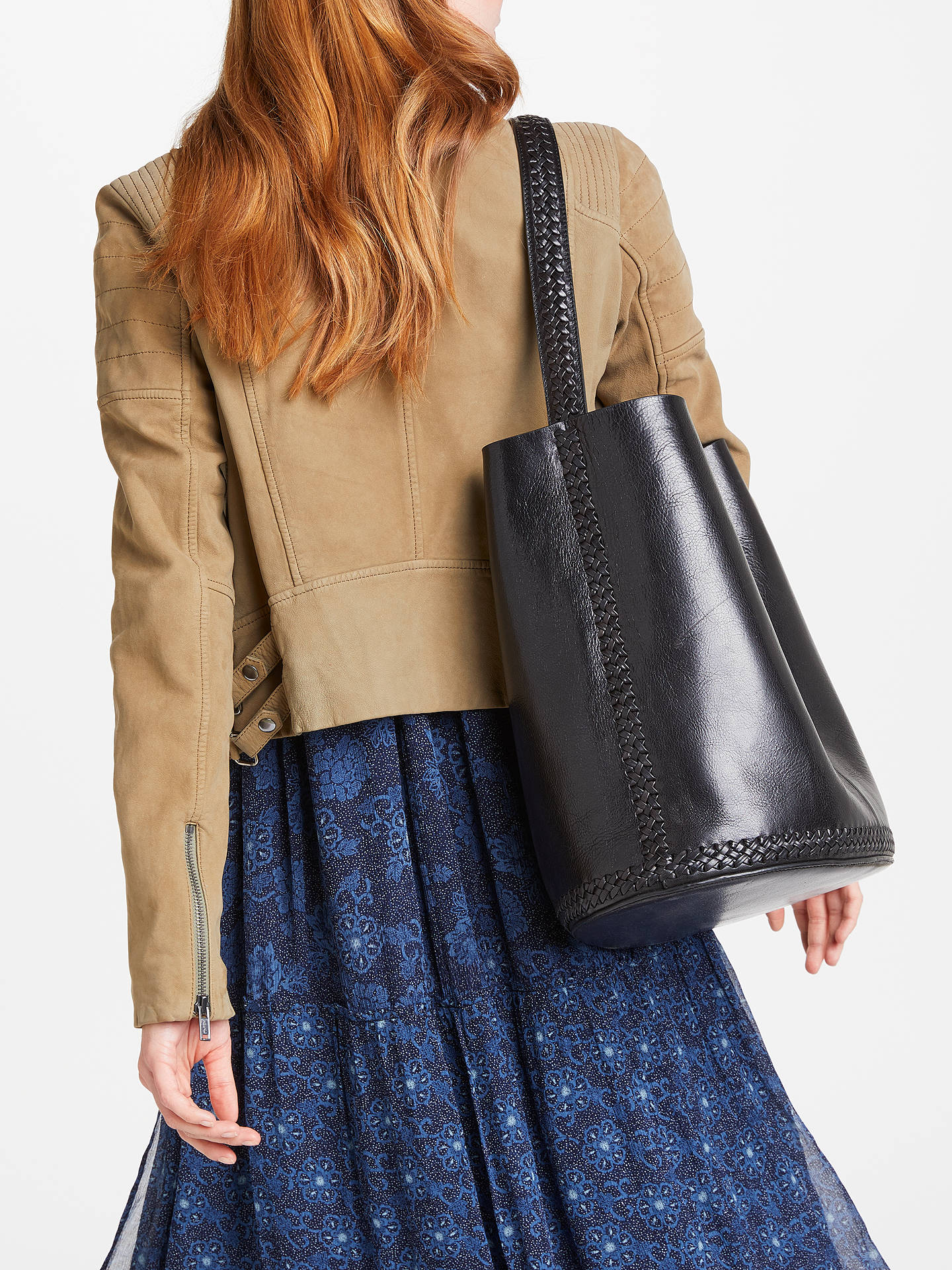 BuyAND/OR Isabella Leather Whipstitch Bucket Bag, Black Online at johnlewis.com
