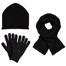 Buy John Lewis Cashmere Scarf, Beanie Hat and Gloves Set, Black Online at johnlewis.com