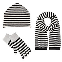 Buy John Lewis Striped Cashmere Scarf, Beanie Hat and Gloves Set, Black/Grey Online at johnlewis.com