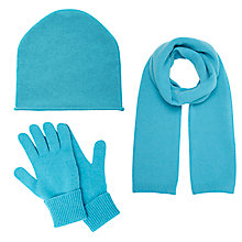 Buy John Lewis Cashmere Scarf, Beanie Hat and Gloves Set, Bright Blue Online at johnlewis.com