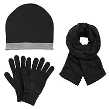 Buy John Lewis Cashmere Scarf, Beanie Hat and Gloves Set, Charcoal Online at johnlewis.com