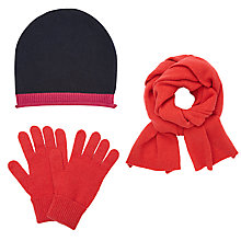 Buy John Lewis Cashmere Scarf, Tipped Beanie Hat and Gloves Set, Coral Online at johnlewis.com