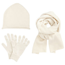 Buy John Lewis Cashmere Scarf, Beanie Hat and Gloves Set, Cream Online at johnlewis.com