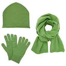 Buy John Lewis Cashmere Scarf, Beanie Hat and Gloves Set, Green Online at johnlewis.com