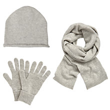 Buy John Lewis Cashmere Scarf, Beanie Hat and Gloves Set, Light Grey Online at johnlewis.com