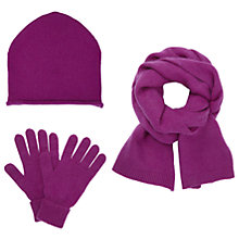 Buy John Lewis Cashmere Scarf, Beanie Hat and Gloves Set, Magenta Online at johnlewis.com