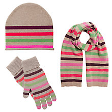 Buy John Lewis Striped Cashmere Scarf, Beanie Hat and Gloves Set, Multi Online at johnlewis.com