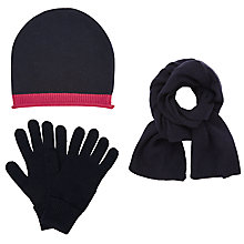 Buy John Lewis Cashmere Scarf, Beanie Hat and Gloves Set, Navy Online at johnlewis.com