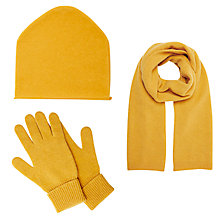 Buy John Lewis Cashmere Scarf, Beanie Hat and Gloves Set, Ochre Online at johnlewis.com