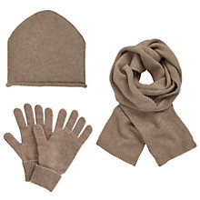 Buy John Lewis Cashmere Scarf, Beanie Hat and Gloves Set, Toast Online at johnlewis.com