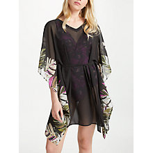 Buy John Lewis Madagascar Leaf Print Square Tie Waist Kaftan, Black/Multi Online at johnlewis.com