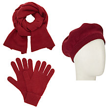 Buy John Lewis Cashmere Scarf, Beret Hat and Gloves Set, Red Online at johnlewis.com