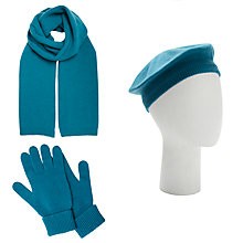 Buy John Lewis Cashmere Scarf, Beret Hat and Gloves Set, Teal Online at johnlewis.com