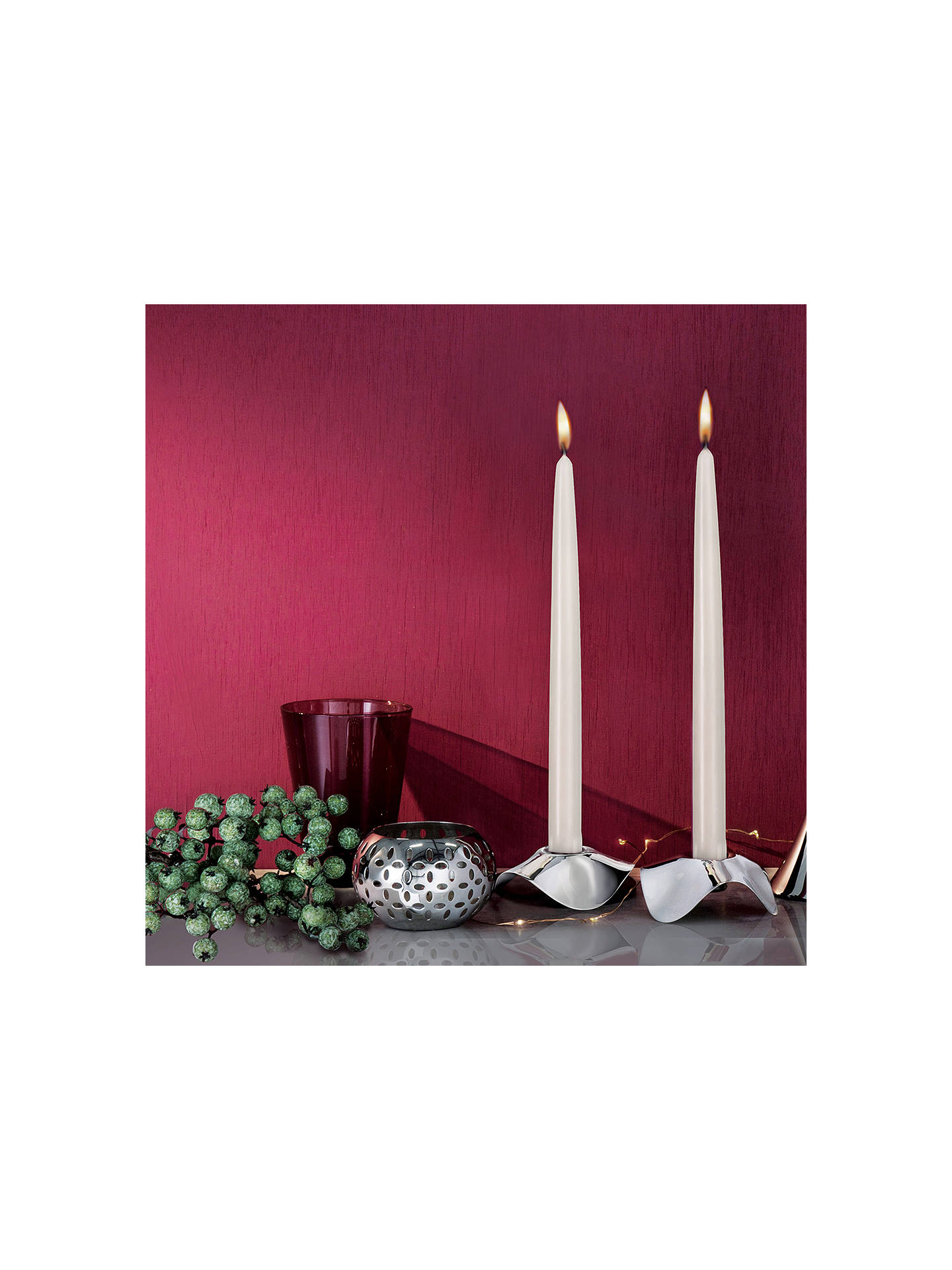 Buy Robert Welch Drift Candle Holder, Silver, Pack of 2 Online at johnlewis.com