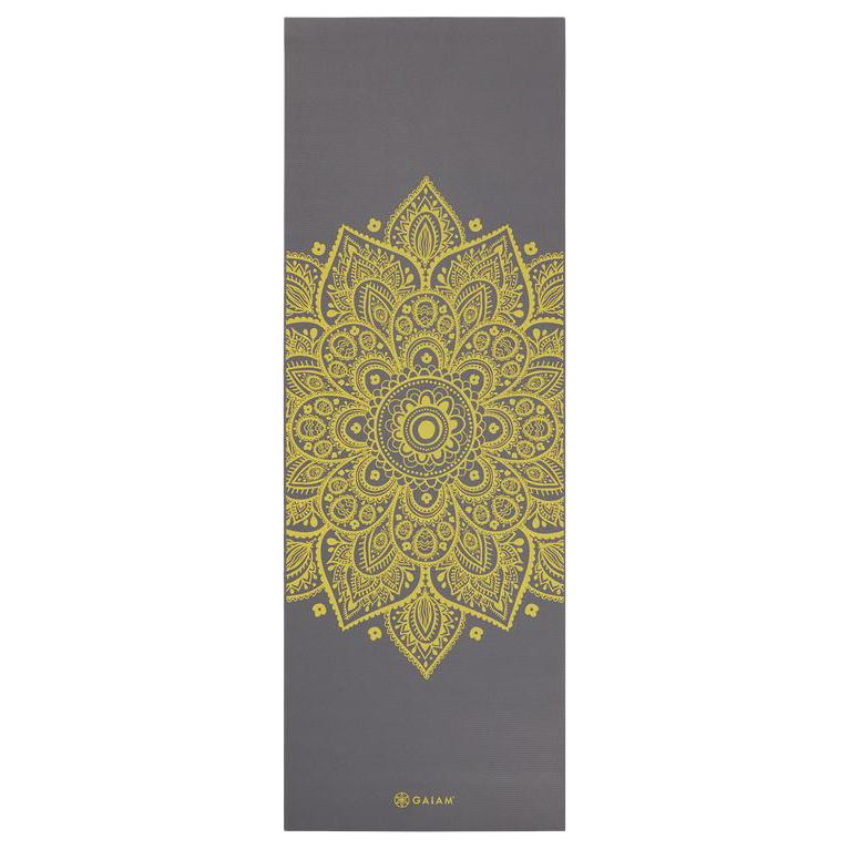 Gaiam Gaiam Premium Citron Sundial 6mm Yoga Mat, Grey/Citron