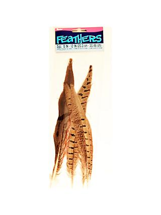 buy online 25160 a072a Habico Mixed Tail Feathers, Pack of 5, Natural Brown