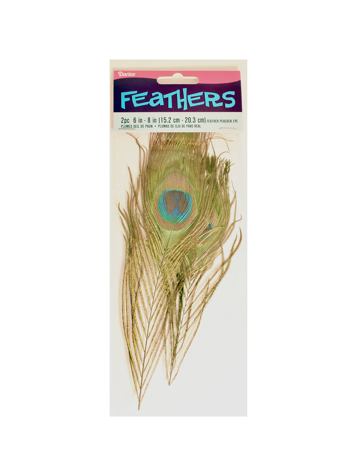 new arrivals 6e42e d0b00 Buy Habico Peacock Feathers, Pack of 2, Brown Blue Online at johnlewis.
