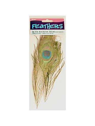 Habico Peacock Feathers, Pack of 2, Brown/Blue