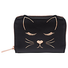 Buy Ted Baker Terica Leather Cat Zipped Purse, Black Online at johnlewis.com