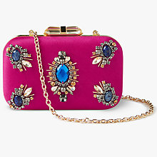 Buy John Lewis Stella Stone Box Clutch Bag, Pink Online at johnlewis.com