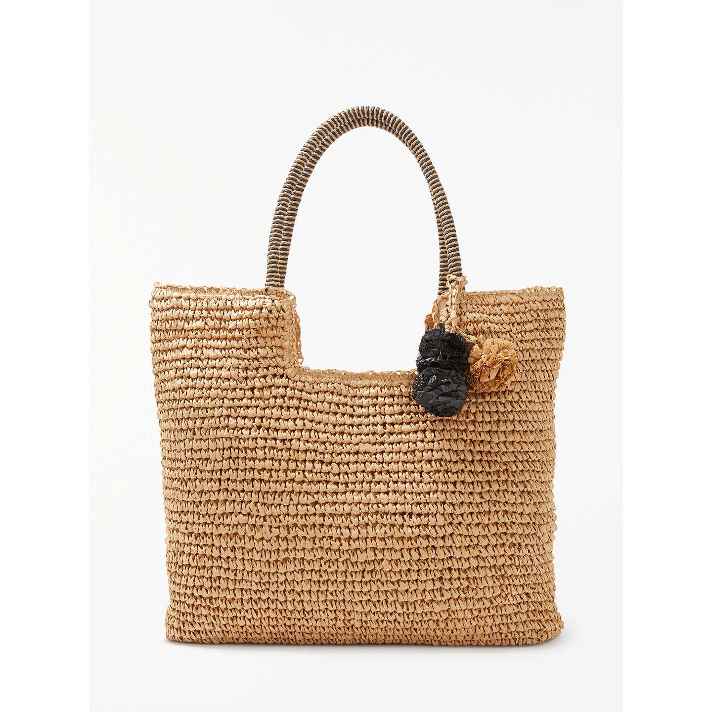 John Lewis Straw Pom Pom Shoulder Bag, Natural, Natural by John Lewis