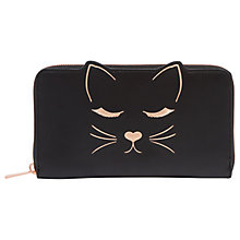 Buy Ted Baker Tammy Leather Cat Zipped Matinee Purse, Black Online at johnlewis.com