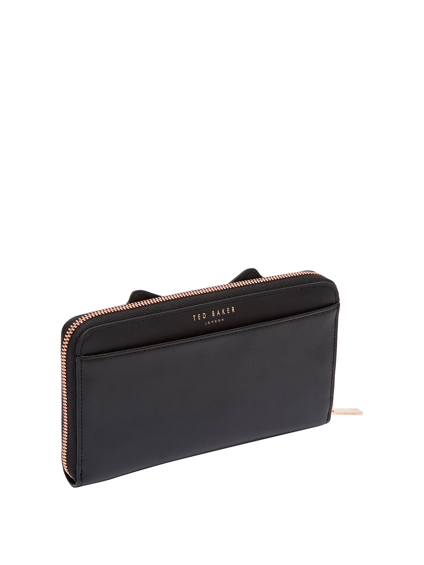 68d377937d2 ... Buy Ted Baker Tammy Leather Cat Zipped Matinee Purse, Black Online at  johnlewis.com ...
