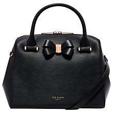 Buy Ted Baker Cacia Leather Bow Detail Bowler Bag, Black Online at johnlewis.com