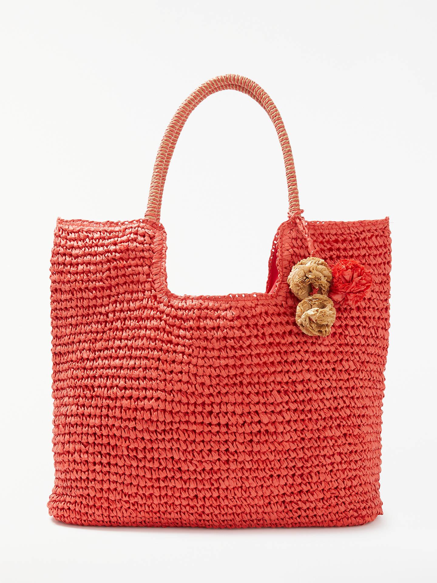 adc2c4b3a298 John Lewis & Partners Straw Pom Pom Shoulder Bag at John Lewis ...