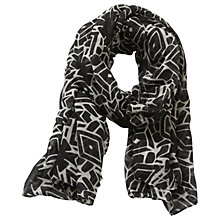 Buy Betty & Co. Long Graphic Weave Scarf, Black/Cream Online at johnlewis.com