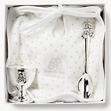 Buy English Trousseau Silver Plated Egg, Cup and Spoon with Bib Online at johnlewis.com