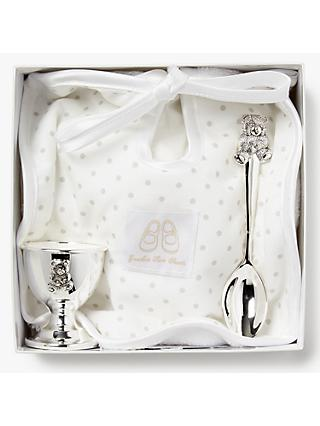 English Trousseau Silver Plated Egg, Cup and Spoon with Bib