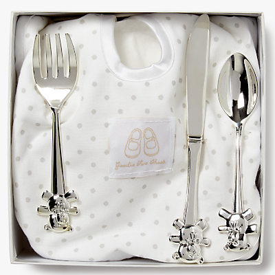 Image of English Trousseau Silver Plated Cutlery Set with Bib