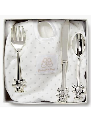 English Trousseau Silver Plated Cutlery Set with Bib